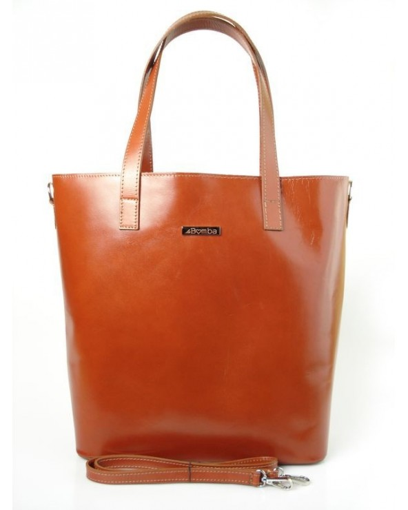 Shopper bag włoska torebka skórzana A4 Karmelowa