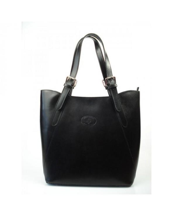 Shopper bag włoska torebka skórzana A4 Czarna