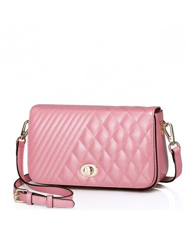 NUCELLE Damska torebka na ramię z naturalnej skóry Różowa