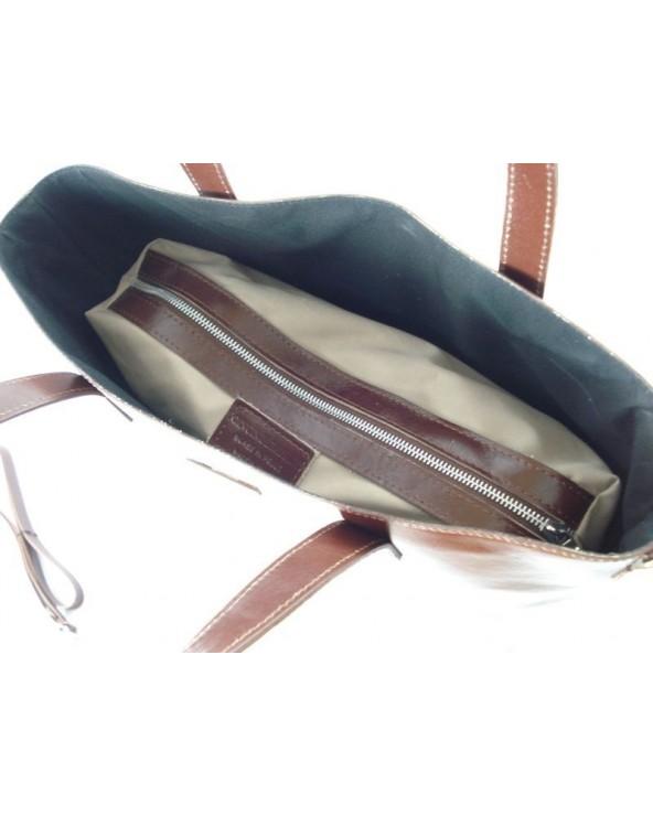 Shopper bag włoska torebka skórzana A4 Brązowy