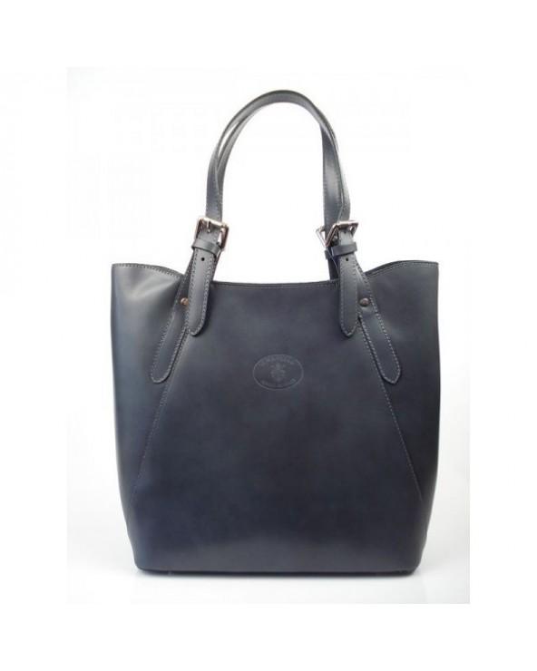 Shopper bag włoska torebka skórzana A4 Szara