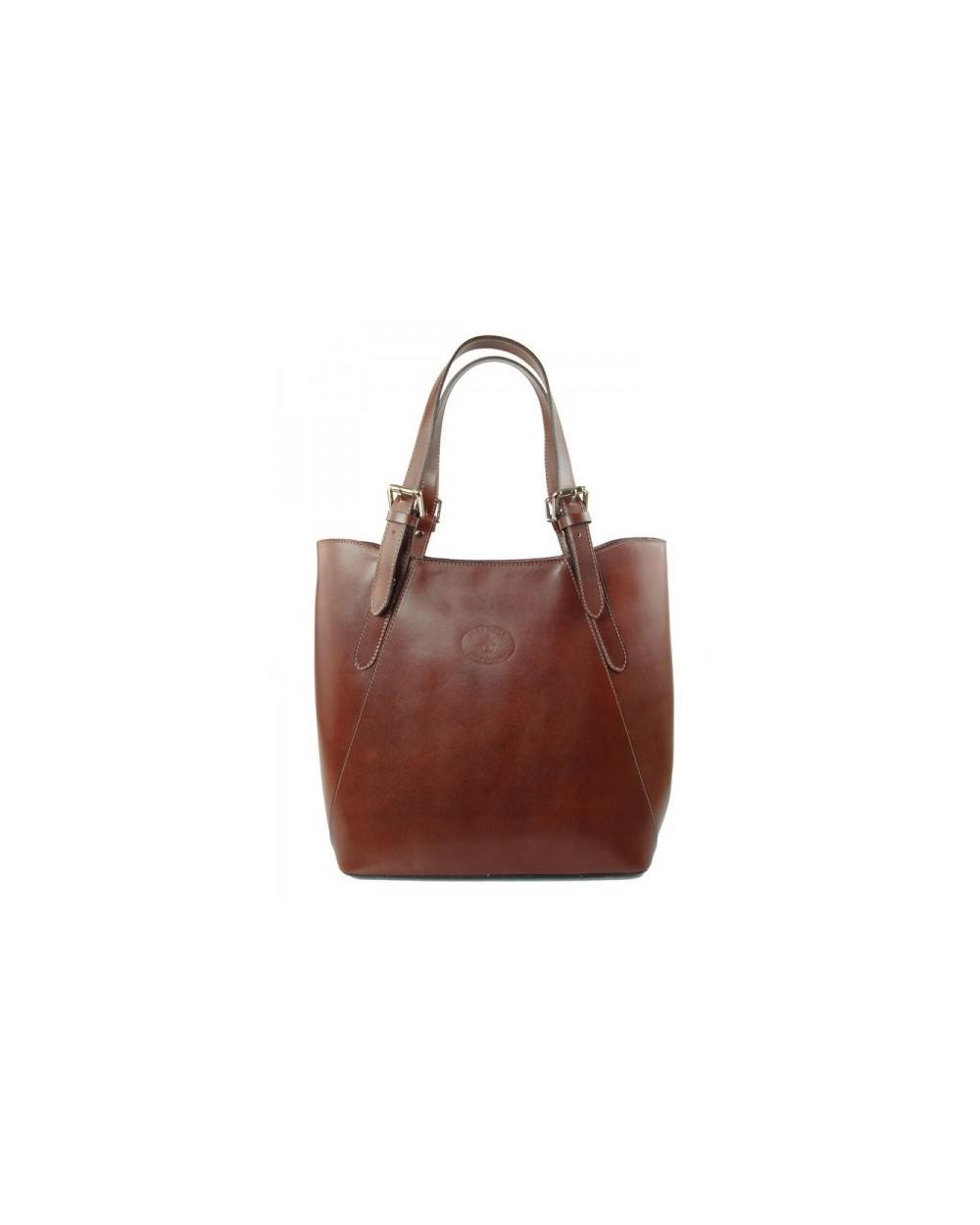 Shopper bag włoska torebka skórzana A4 Brązowa