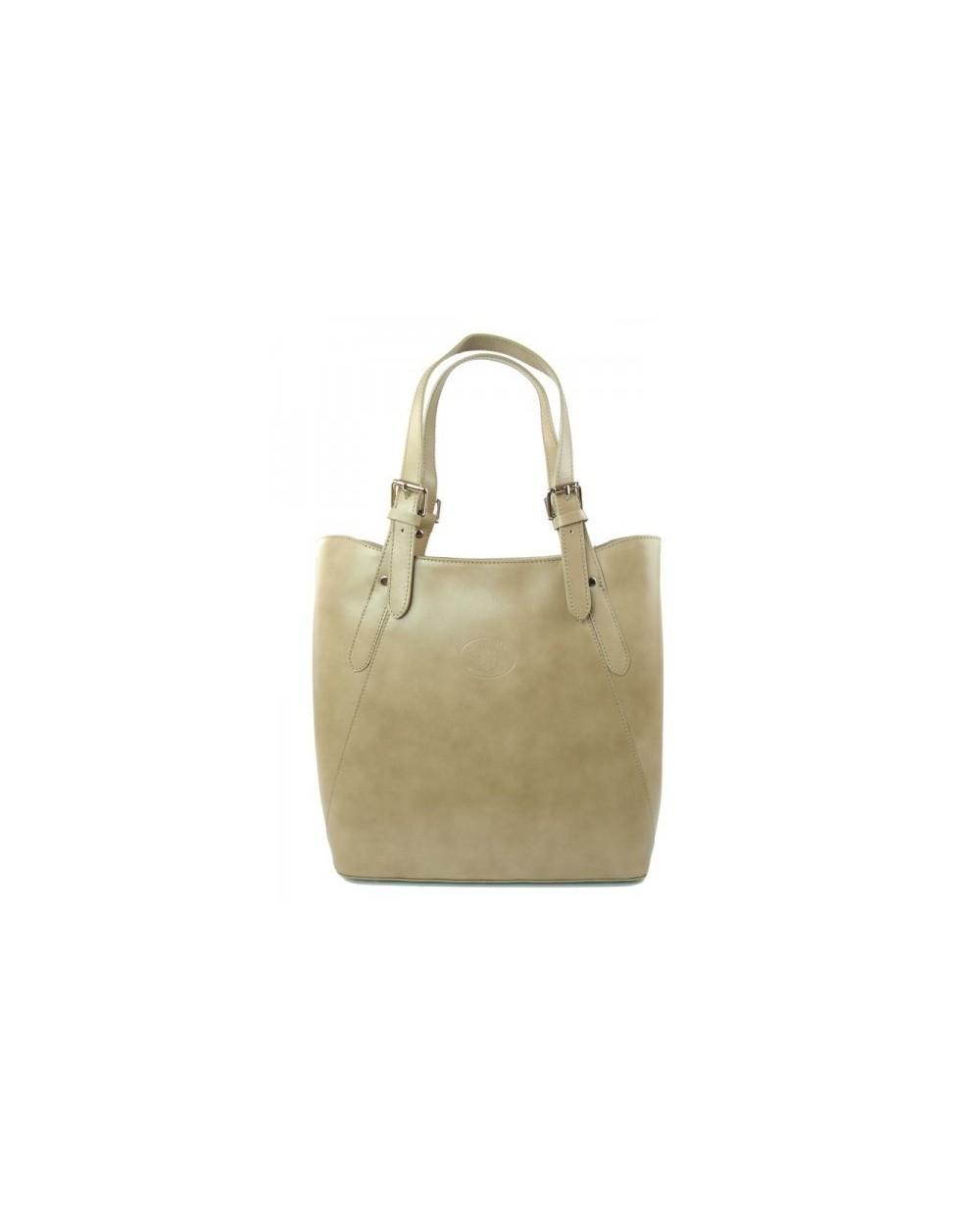 Shopper bag włoska torebka skórzana A4 Beżowa
