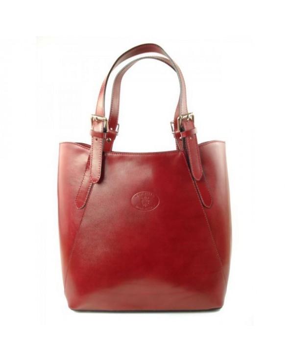 Shopper bag włoska torebka skórzana A4 Czerwona