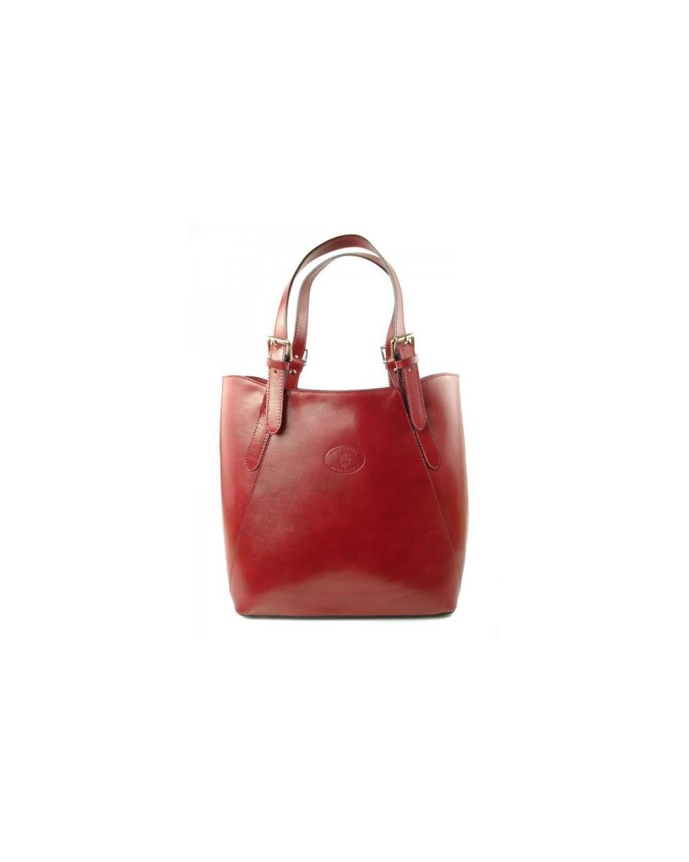 3e9315b311130 Shopper bag włoska torebka skórzana A4 Czerwona - Sklep internetowy ...