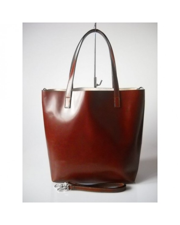Włoska pojemna torebka typu shopper vera pelle Brązowa