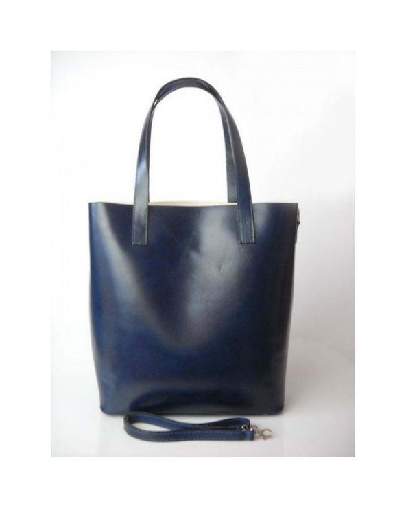 Włoska pojemna torebka typu shopper vera pelle Granatowa