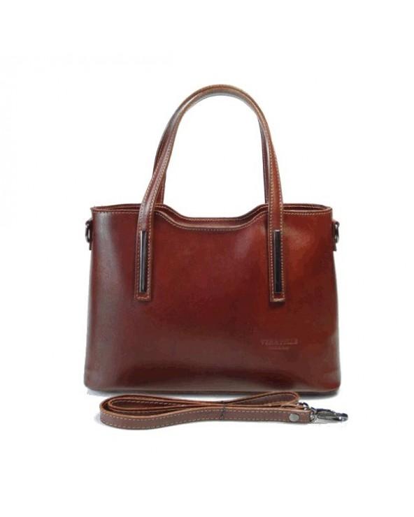 Klasyczna elegancka włoska torebka skórzana vera pelle Brązowa