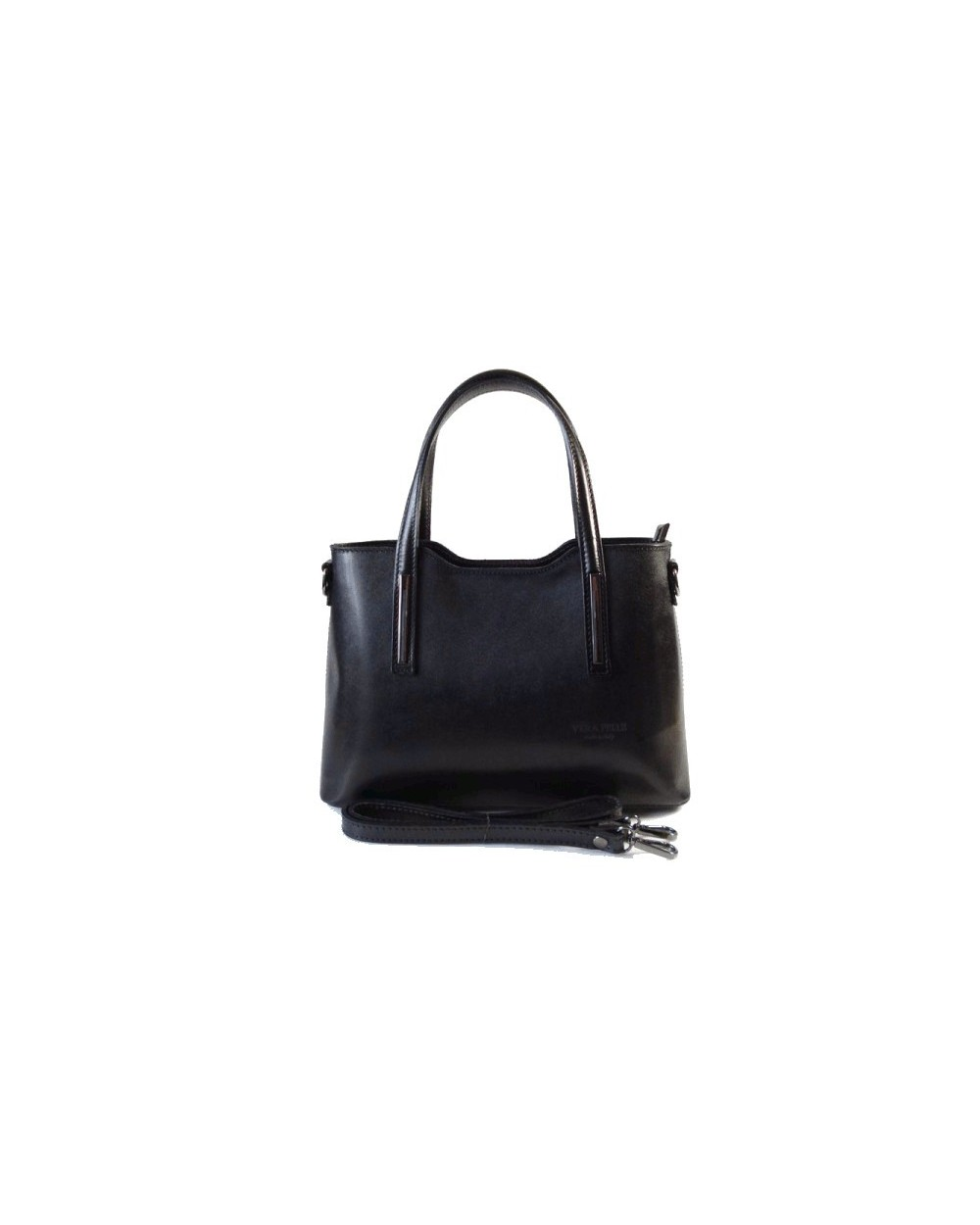eac938d28cf8f Klasyczna elegancka włoska torebka skórzana vera pelle Czarna. ‹ ›