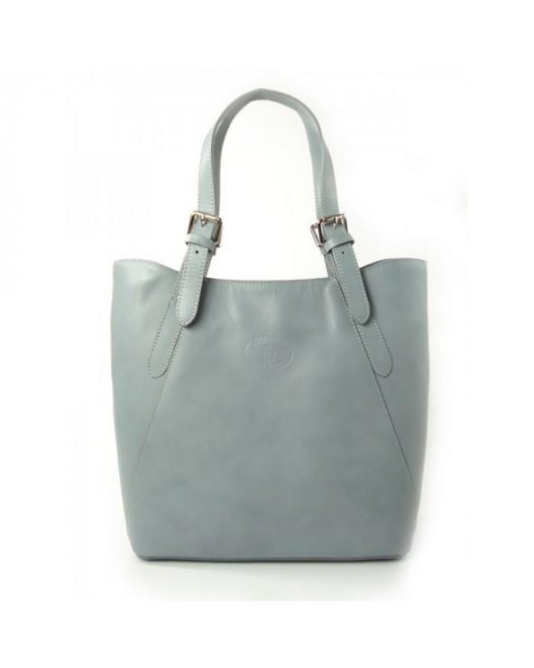 Shopper bag włoska torebka skórzana A4 Jasnoszara