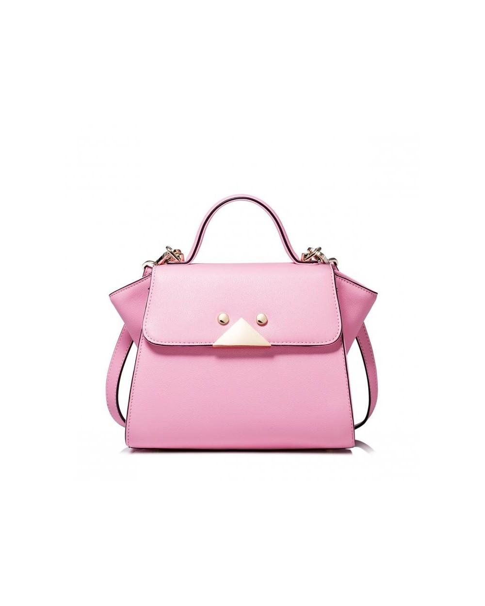 Designerska skórzana torebka Różowa