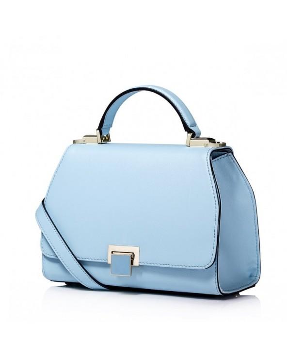 Elegancka skórzana damska torebka Niebieska