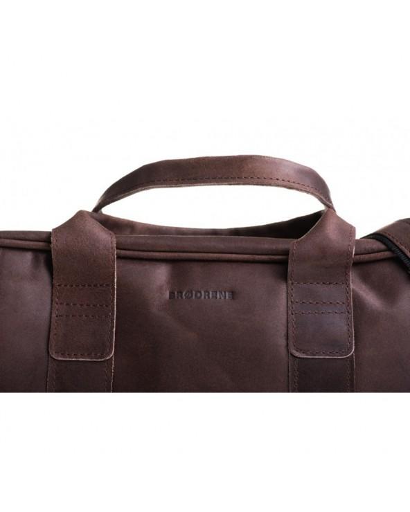 Skórzana męska torba na ramię ciemny brąz