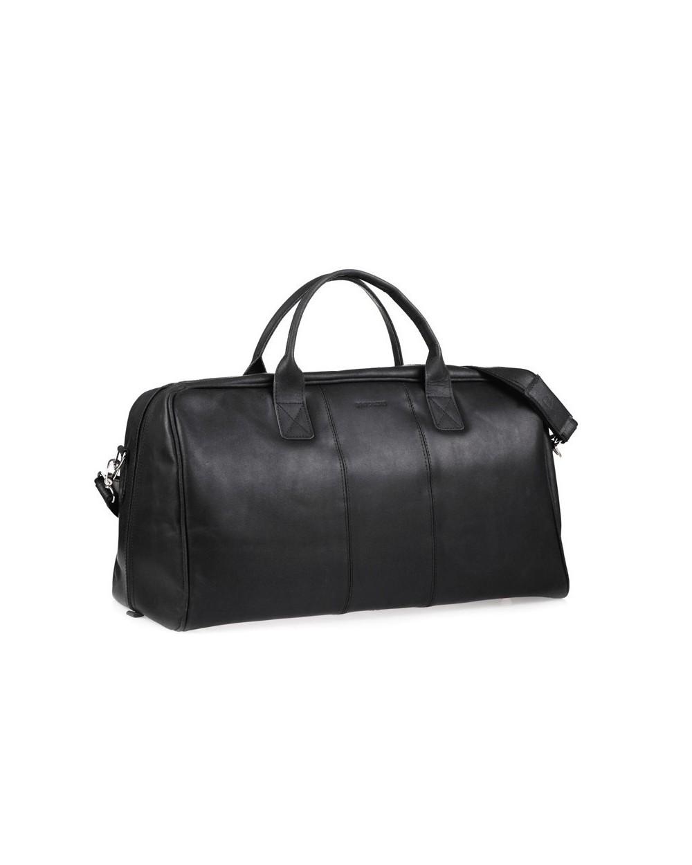 Casual skórzana torba podróżna na ramię czarna