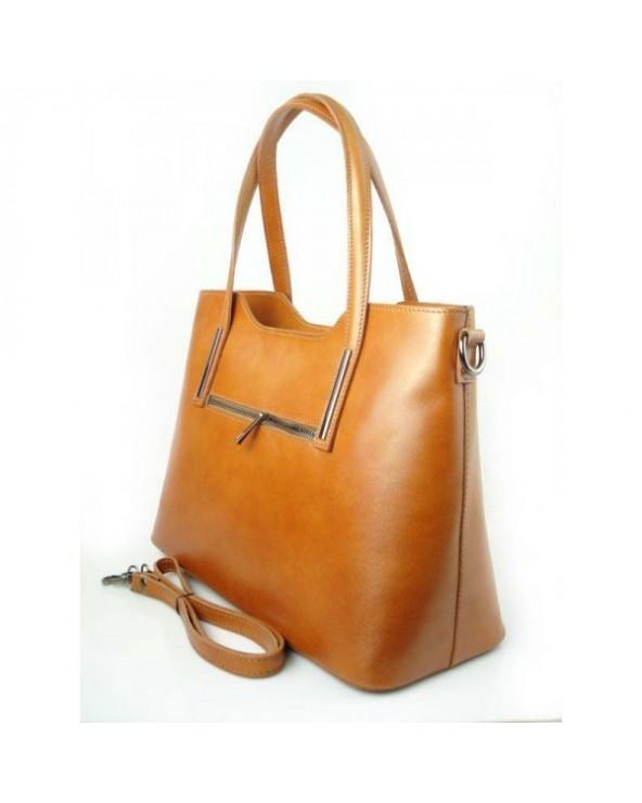 Klasyczna elegancka włoska torebka skórzana vera pelle Camel
