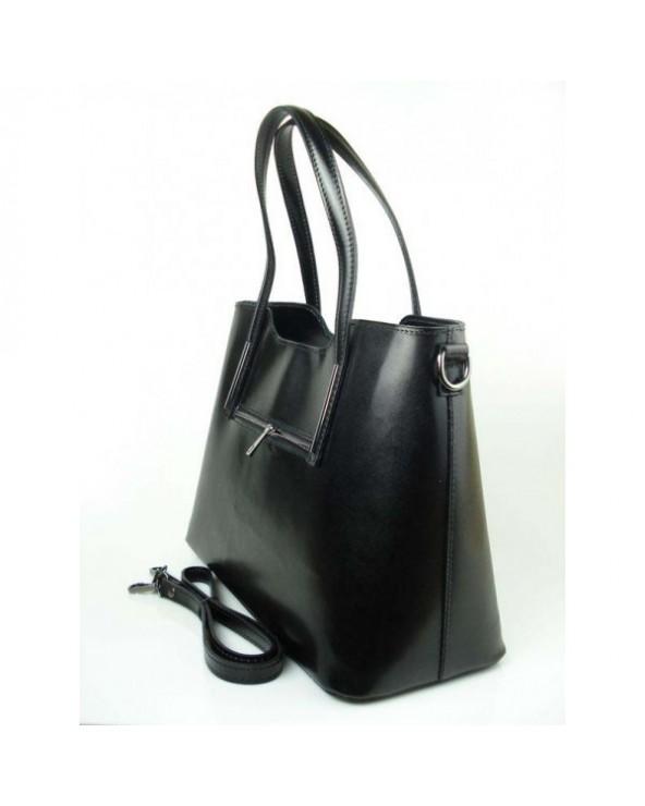 Klasyczna elegancka włoska torebka skórzana vera pelle Czarna
