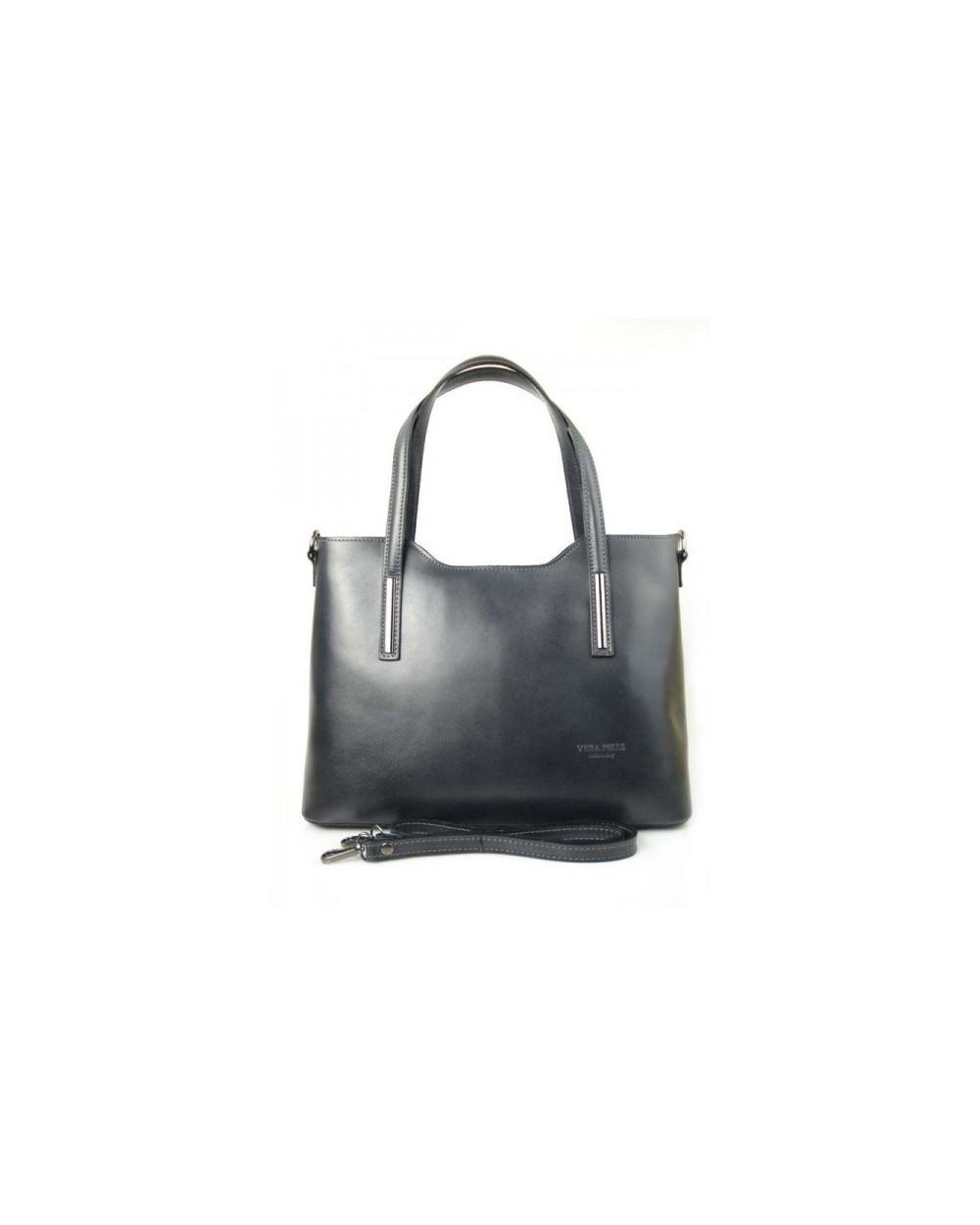 8999ccc386fee Klasyczna elegancka włoska torebka skórzana vera pelle Grafitowa. ‹ ›