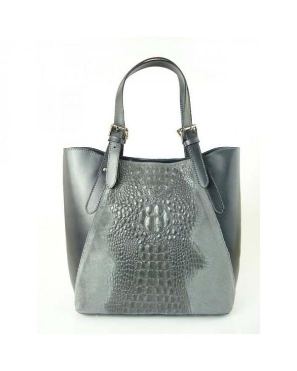Włoski shopper bag z krokodylem Szara