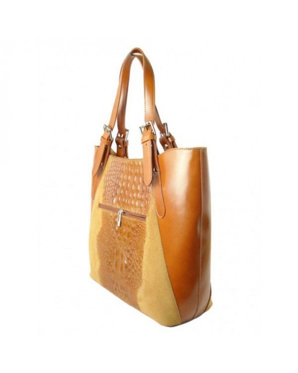 Włoski shopper bag z krokodylem Camel