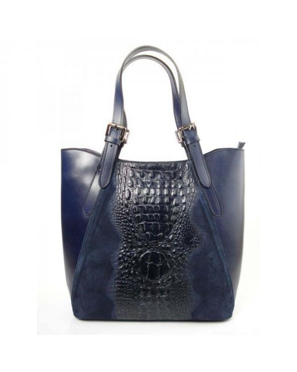 Włoski shopper bag z krokodylem Granatowa