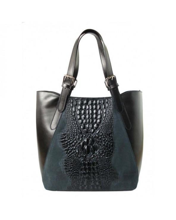 Włoski shopper bag z krokodylem Czarna