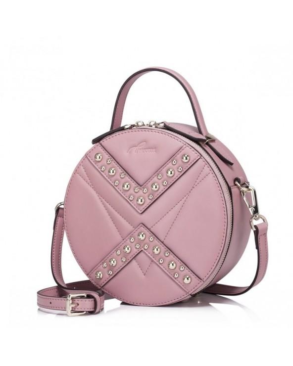 Okrągła damska torebka z ćwiekami Różowa