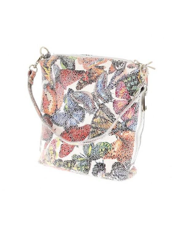 Skórzana włoska torebka listonoszka worek print w motyle