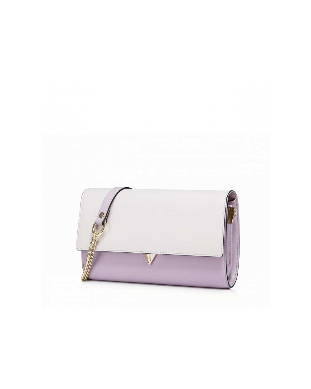 Elegancka skórzana damska kopertówka lila