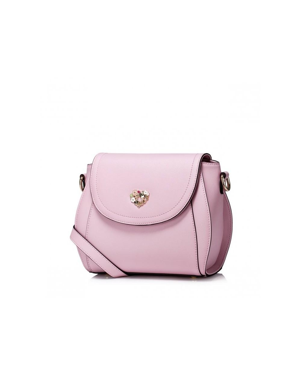 Damska skórzana torebka na ramię Różowa