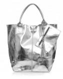 Włoska skórzana torebka na ramię shopper worek srebrna metaliczna