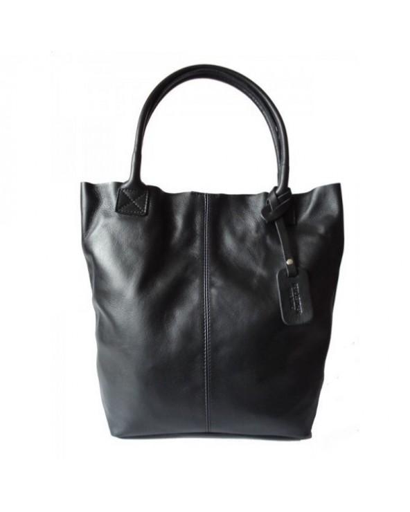 Skórzana torebka włoski shopper czarna