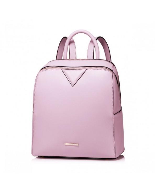 Prosty damski plecak z naturalnej skóry Różowy