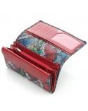 Portfel skórzany motyle print klayczny czerwony