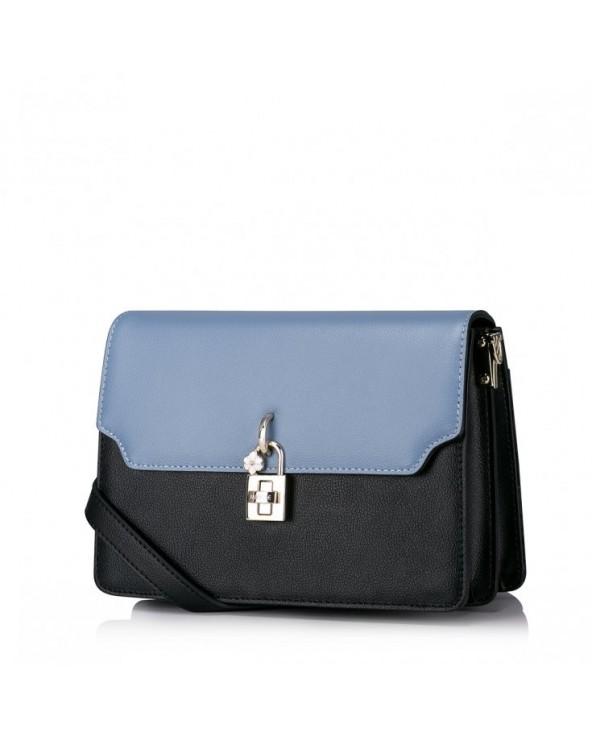 Niewielka damska torebka na ramię z naturalnej skóry niebieska