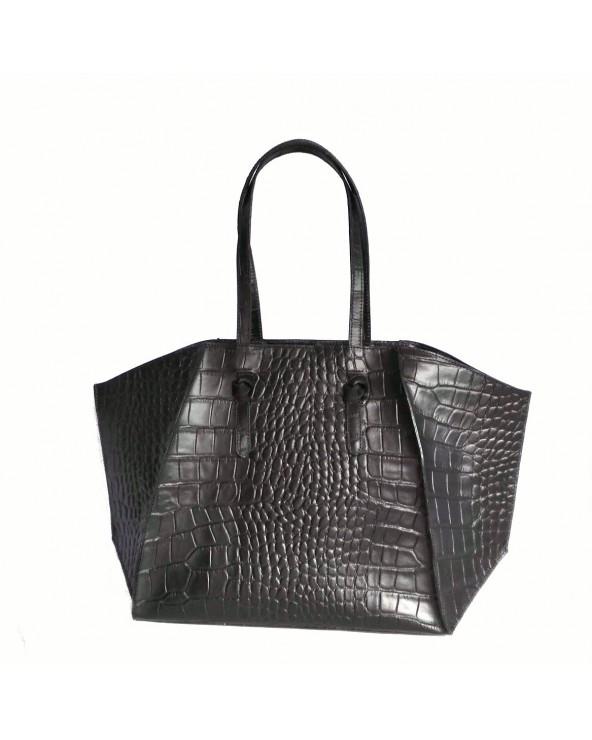 Obszerna designerska włoska torebka skóra krokodyla czarna