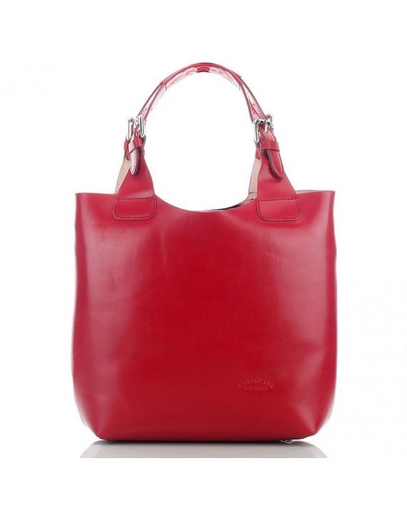 Elegancki włoski shopper vera pelle czerwony