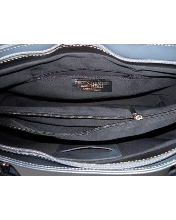 Klasyczna włoska torebka na ramię szara