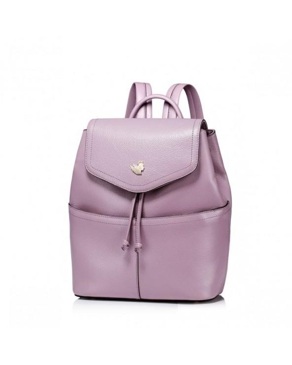 Skórzany damski plecak ze ściągaczem Purpurowy