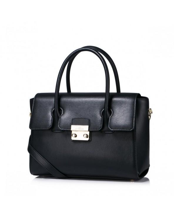 Prosta i elegancka skórzana damska torebka do ręki Czarna