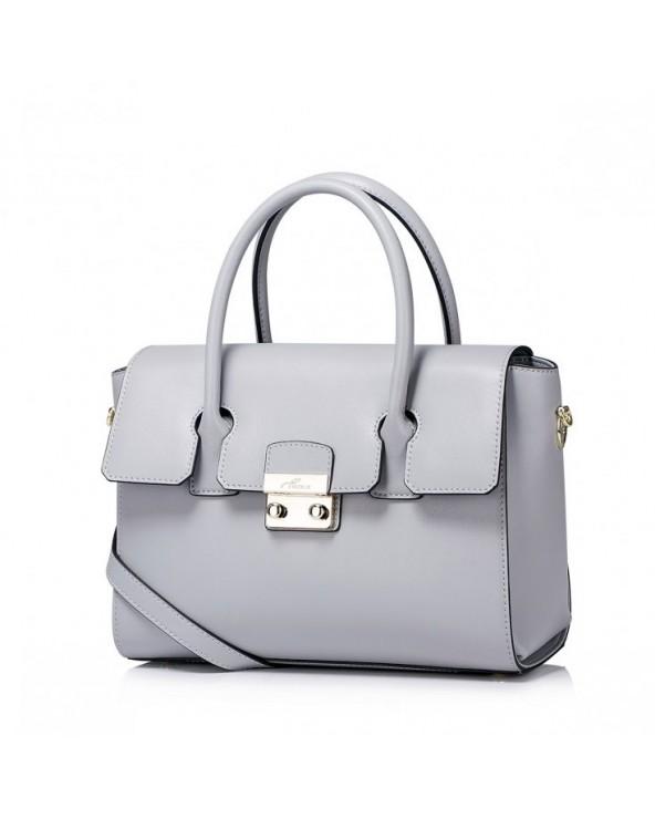 Prosta i elegancka skórzana damska torebka do ręki Szara