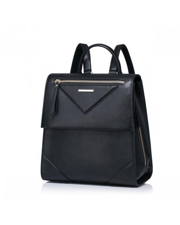 Modny damski plecak z naturalnej skóry Czarny