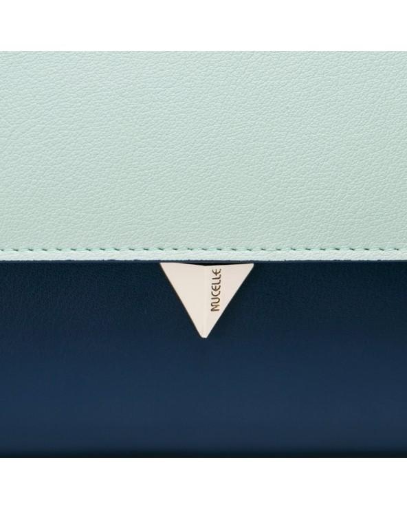 Elegancka skórzana damska kopertówka zielona
