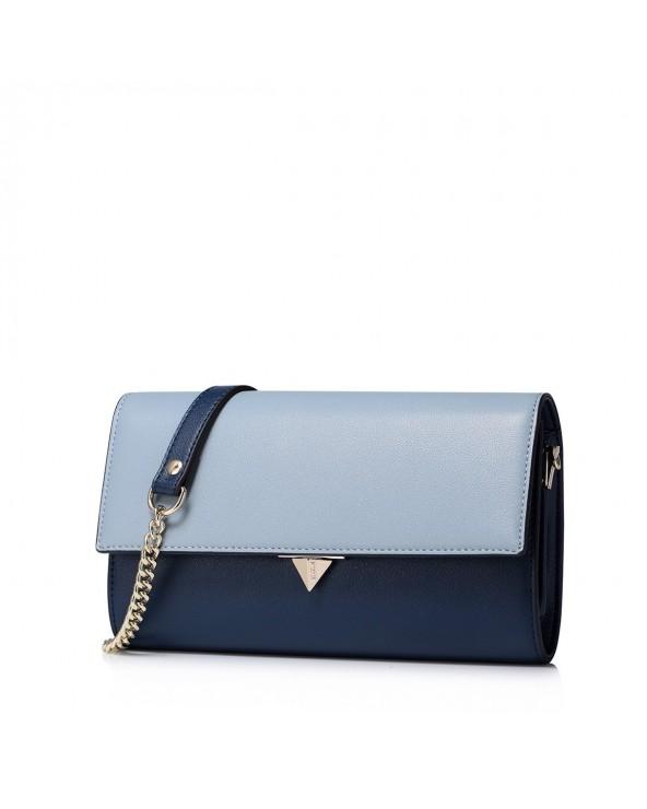 Elegancka skórzana damska kopertówka niebieska