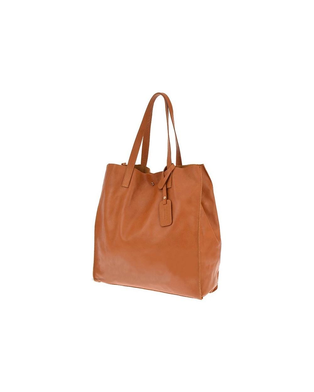 da960d143c385 Włoska torebka skórzana vera pelle worek shopper Złota metaliczna. ‹ ›
