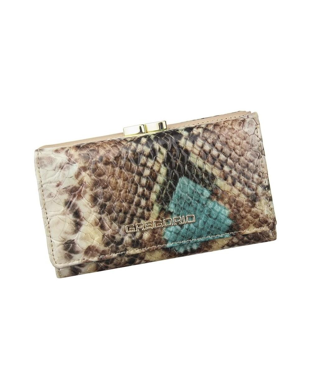 Włoski portfel skórzany snake