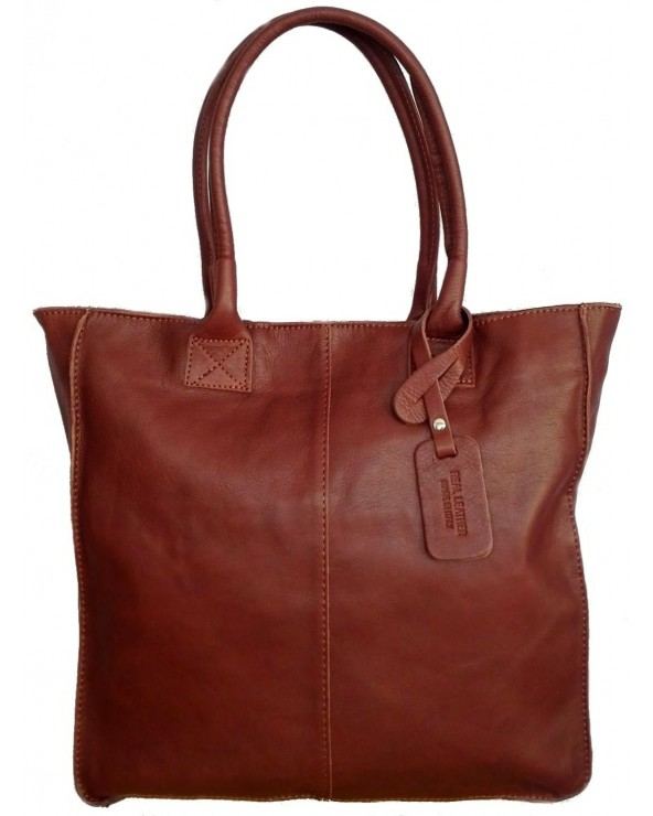 duża torebka skórzana na ramię vera pelle shopper worek brązowa