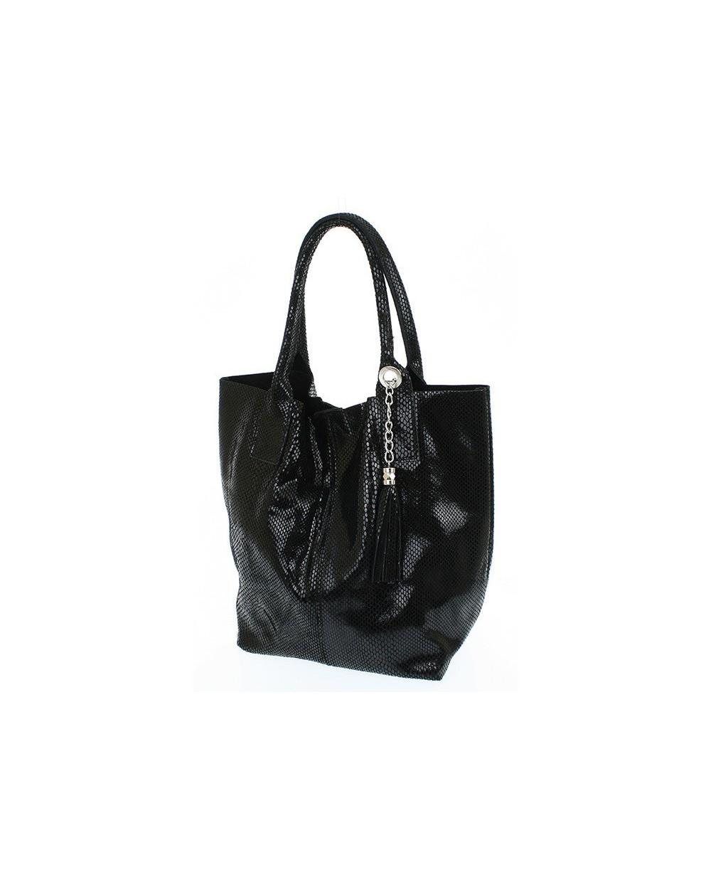 Włoska torebka vera pelle skóra węża shopper worek czarna