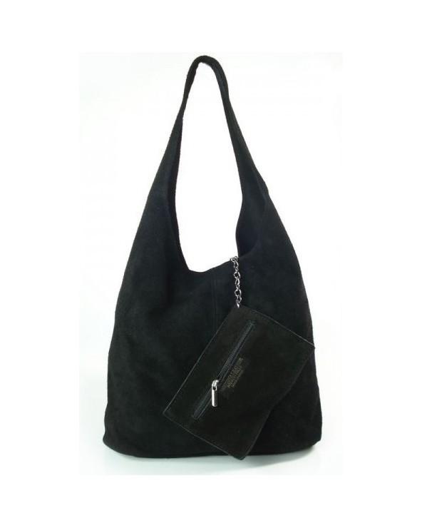 Zamszowy worek torebka vera pelle czarna