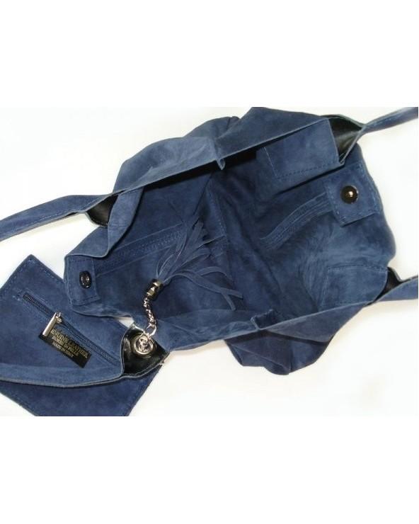 Włoska zamszowa torebka shopper worek granatowa