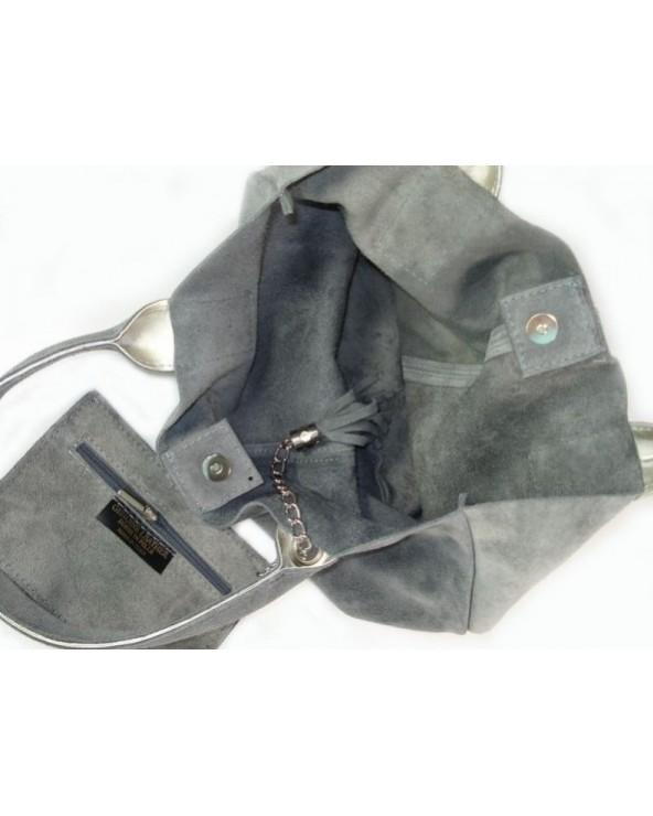 Włoska zamszowa torebka shopper worek szary